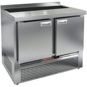 Стол холодильный саладетта, GN1/1, L1.00м, борт H50мм, 2 двери глухие, ножки, +2/+10С, нерж.сталь, дин.охл., агрегат нижний, гнездо GN1/6, без крышки