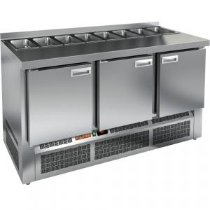 Стол холодильный саладетта, GN1/1, L1.49м, борт H50мм, 3 двери глухие, ножки, +2/+10С, нерж.сталь, дин.охл., агрегат нижний, гнездо GN1/3, без крышки