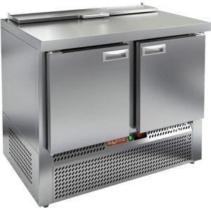 Стол холодильный саладетта, GN1/1, L1.00м, без борта, 2 двери глухие, ножки, +2/+10С, нерж.сталь, дин.охл., агрегат нижний, гнездо GN1/3, крышка