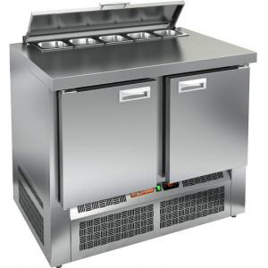 Стол холодильный саладетта, GN1/1, L1.00м, без борта, 2 двери глухие, ножки, +2/+10С, нерж.сталь, дин.охл., агрегат нижний, гнездо GN1/6, крышка