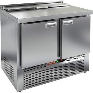 Стол холодильный саладетта, GN1/1, L1.00м, борт H50мм, 2 двери глухие, ножки, +2/+10С, нерж.сталь, дин.охл., агрегат нижний, гнездо GN1/3, крышка