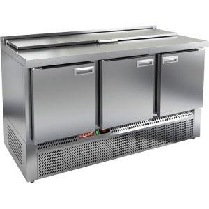 Стол холодильный саладетта, GN1/1, L1.49м, борт H50мм, 3 двери глухие, ножки, +2/+10С, нерж.сталь, дин.охл., агрегат нижний, гнездо GN1/3, крышка