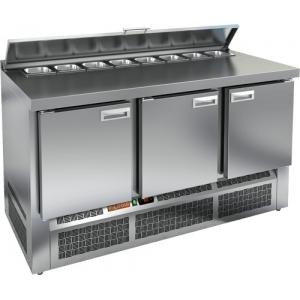 Стол холодильный саладетта, GN1/1, L1.49м, борт H50мм, 3 двери глухие, ножки, +2/+10С, нерж.сталь, дин.охл., агрегат нижний, гнездо 8GN1/6, крышка