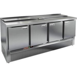 Стол холодильный саладетта, GN1/1, L1.97м, борт H50мм, 4 двери глухие, ножки, +2/+10С, нерж.сталь, дин.охл., агрегат нижний, гнездо GN1/6, крышка
