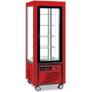 Витрина холодильная напольная, вертикальная, L0.70м, 5 полок, +2/+10С, дин.охл., красная, 4-х стороннее остекление