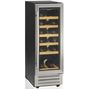 Шкаф холодильный д/вина,  18бут. (80л), 1 дверь стекло, 6 полок, ножки, +5/+18С, стат.охл.+вент., чёрный+нерж.сталь