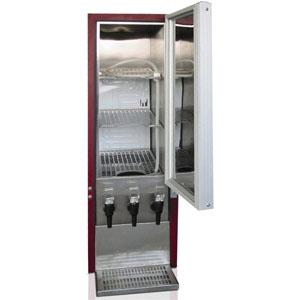 Шкаф-диспенсер холодильный д/вина,  3х10л (95л), 1 дверь глухая, ножки, +3/+9С, стат.охл., бордовый, 3 крана