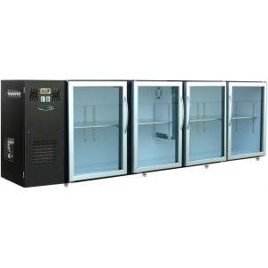 Модуль барный холодильный, 2740х540х850мм, без борта, 4 двери стекло, ножки, +2/+8С, темно-серый, дин.охл., агрегат слева, R134a, RGB