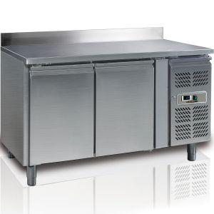 Стол холодильный, L1.36м, борт, 2 двери глухие, ножки, -2/+8С, нерж.сталь, дин.охл., агрегат справа