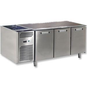 Стол холодильный, L1.72м, без столешницы, 3 двери глухие, ножки, 0/+8С, нерж.сталь, дин.охл., агрегат слева