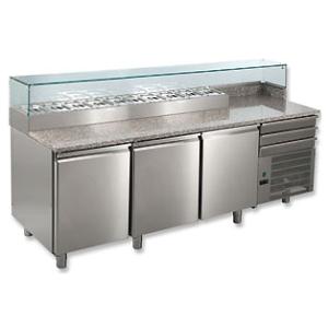 Стол холодильный для пиццы, L2.12м, борт H150мм, 3 двери глухие+3 ящика, ножки, 0/+8С, нерж.сталь, дин.охл., агрегат справа, витрина 8GN1/3, гран.ст.