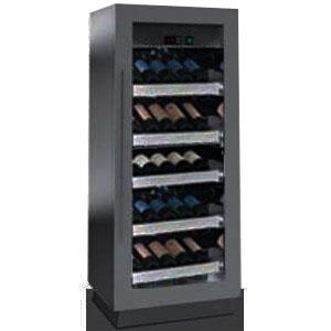 Шкаф холодильный д/вина,  36бут., 1 дверь стекло, 6 ящиков, ножки, +4/+8С, стат.охл., чёрный
