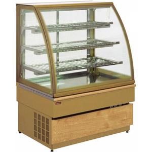 Витрина тепловая напольная, вертикальная, кондитерская, L1.48м, 3 полки, +30/+90С, золотая, стекло фронтальное гнутое