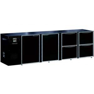 Модуль барный холодильный, 2740х540х850мм, без борта, 2 двери глухие+4 ящика глухих, ножки, +2/+8С, темно-серый, дин.охл., агрегат слева, R290