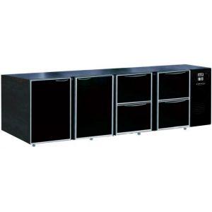 Модуль барный холодильный, 2740х540х850мм, без борта, 2 двери глухие+4 ящика глухих, ножки, +2/+8С, темно-серый, дин.охл., агрегат справа, R290