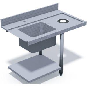 Стол входной для машин посудомоечных HT, L1.20м, 1 борт, 1 полка сплошная, 2 ножки, мойка 500х400х270мм, правый, отверстие для отходов