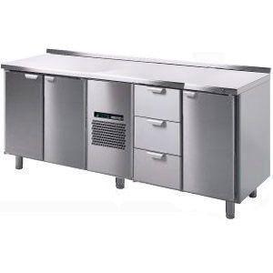 Стол холодильный, GN1/1, L2.06м, борт H40мм,  3 двери глухие+3 выд.секц., ножки, +2/+15С, нерж.сталь, дин.охл., агрегат центр., короб-вст.