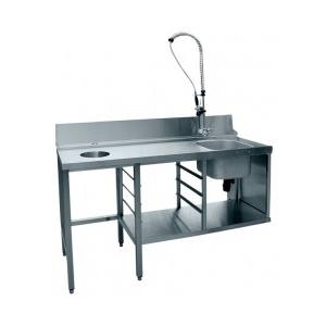 Стол входной для машин посудомоечных МПК, L1.71м, 1 борт, 1 полка сплошная, 4 ножки, мойка 400х400х250мм, универсальный, душ-стойка, отв., направ.