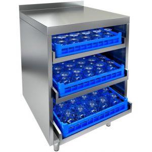 Модуль барный нейтральный для посудомоечных корзин,  600х600х850мм, борт, 3 уровня, ножки, нерж.сталь