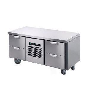 Стол холодильный низкий, GN1/1, L1.26м, без борта, 4 выд.секц., ролики, +2/+15С, нерж.сталь, дин.охл., агрегат центр., короб-вст.