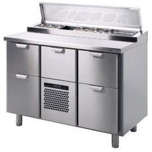 Стол холодильный саладетта, GN1/1, L1.26м, без борта, 5 выд.секц., ножки, +2/+15С, нерж.сталь, агрегат центр., 7GN1/6, короб-вст.
