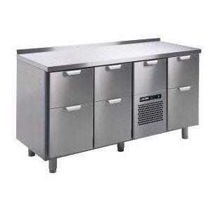 Стол холодильный, GN1/1, L1.66м, борт H40мм,  7 выд.секц., ножки, +2/+15С, нерж.сталь, дин.охл., агрегат центр., короб-вст.