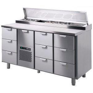 Стол холодильный саладетта, GN1/1, L1.66м, без борта, 10 выд.секц., ножки, +2/+15С, нерж.сталь, агрегат центр., 4GN1/3, уд.ст.вперед (700), короб