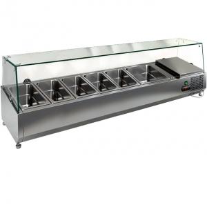Витрина холодильная настольная, горизонтальная, для топпингов, L1.49м, 5GN1/3+1GN1/2, +2/+7С, стат.охл., верхняя структура стекло, ножки
