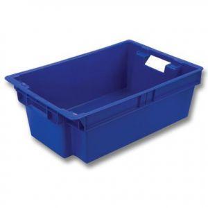 Ящик L 60см w 40см h 20см конусный, мясомолочный, пластик синий