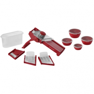 Овощерезка Мандолина мех., 3 ножа, 4 чаши, красная