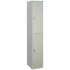 Шкаф для одежды,  400х500х1850мм, 1 секция, 2 ячейки, 2 двери распашные, 2 перекладины, 4 крючка, 2 замка, краш.металл серый RAL7035, разборный