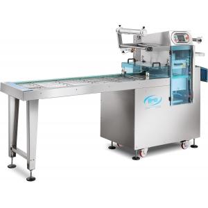 Машина для термоупаковки лотков, напольная, ширина пленки 470мм, электронное управление, без матриц, конвейерная, автоматическая, 2-10 циклов/мин