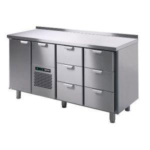 Стол холодильный, GN1/1, L1.66м, борт H40мм,  1 дверь глухая+7 выд.секц., ножки 140мм, +2/+15С, нерж.сталь, дин.охл., агрегат центр., H900мм