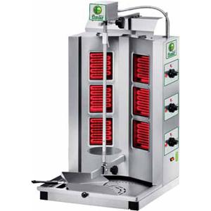 Гриль для шаурмы электрический, загрузка 10-30кг, 6 ТЭНов, электрический привод, нержавеющая сталь, 380V