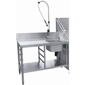 Стол входной для машин посудомоечных МПК, L1.20м, 1 борт, 1 полка сплошная, 2 ножки, мойка 400х400х250мм, универсальный, душ-стойка, направ.