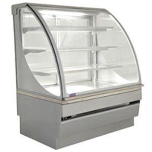 Витрина тепловая напольная, кондитерская, L1.25м, 3 полки,+25/+40С, металлик-хром (серебристый), стекло фронтальное гнутое, пароувлажнение
