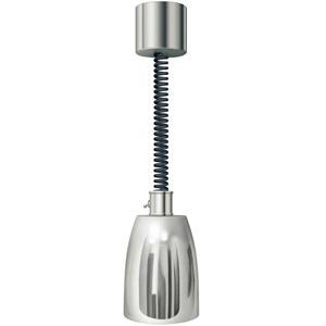 Лампа-мармит подвесная, полир.никель, регулир.шнур чёрный, лампочка прозр. б/покрытия