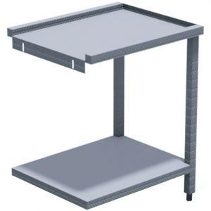 Стол выходной для машин посудомоечных HT, L0.70м, 3 борта, 1 полка сплошная, 2 ножки, нерж.сталь