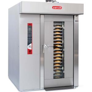 Печь электрическая конвекционно-ротационная, 1 тележка 18х(800х600мм), управление электронное, корпус нерж.сталь, увлажение, попер.загрузка, зонт