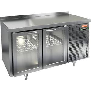 Стол холодильный, GN2/3, L1.39м, борт H50мм, 2 двери стекло, ножки, -2/+10С, нерж.сталь, дин.охл., агрегат справа