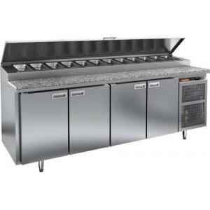 Стол холодильный для пиццы, GN1/1, L2.28м, 4 двери глухие, ножки, +2/+10С, нерж.сталь, дин.охл., агрегат справа, короб 13GN1/6, гранит.пов.
