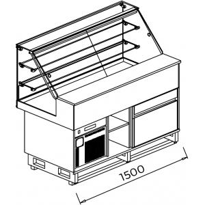 Витрина холодильная напольная, горизонтальная, кондитерская, L1.50м, 2 полки, +4/+8С, дин.охл., без отделки, стекло фронтальное прямое, 1 ящик, нейт.с