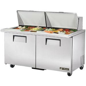 Стол холодильный саладетта, GN1/1, L1.53м, без борта, 2 двери глухие, колеса, +0.5/+5С, нерж.сталь, дин.охл., агрегат нижний, гнездо 24GN1/6