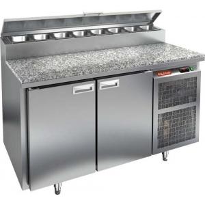 Стол холодильный для пиццы, GN1/1, L1.39м, 2 двери глухие, ножки, +2/+10С, нерж.сталь, дин.охл., агрегат справа, короб 8GN1/6, гранит.пов.