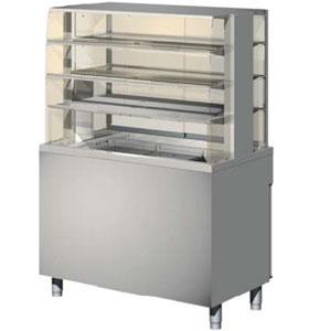 Витрина холодильная напольная, горизонтальная, L1.20м, 3 полки, +4/+15С, дин.охл., нерж.сталь, стекло и двери-купе, ванна закрыта