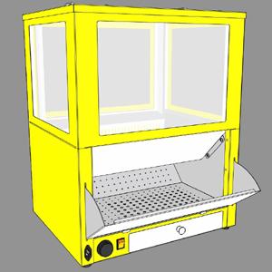 Витрина для попкорна с автоподачей, подогрев, жёлтая