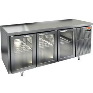 Стол холодильный, GN1/1, L1.84м, без борта, 3 двери стекло, ножки, -2/+10С, нерж.сталь, дин.охл., агрегат справа