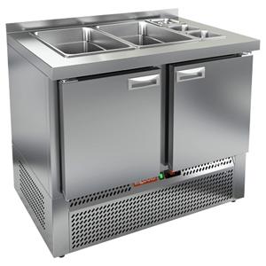 Стол холодильный саладетта, GN1/1, L1.00м, борт H50мм, 2 двери глухие, ножки, +2/+10С, нерж.сталь, дин.охл., агрегат нижний, гнездо GN1/6+GN1/1, без к