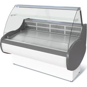 Витрина холодильная напольная, горизонтальная, универсальная, L1.48м, 1 полка, -5/+5С, стат.охл., без щитков, стекло фронтальное гнутое