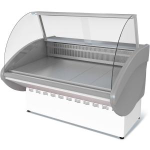 Витрина холодильная напольная, горизонтальная, L1.50м, 0/+7С, стат.охл., без щитков, стекло фронтальное гнутое